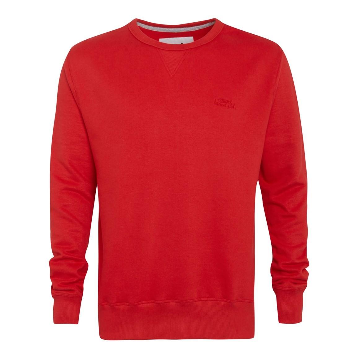 Image of Weird Fish Eyre Crew Neck Sweatshirt Mars Red Size XL