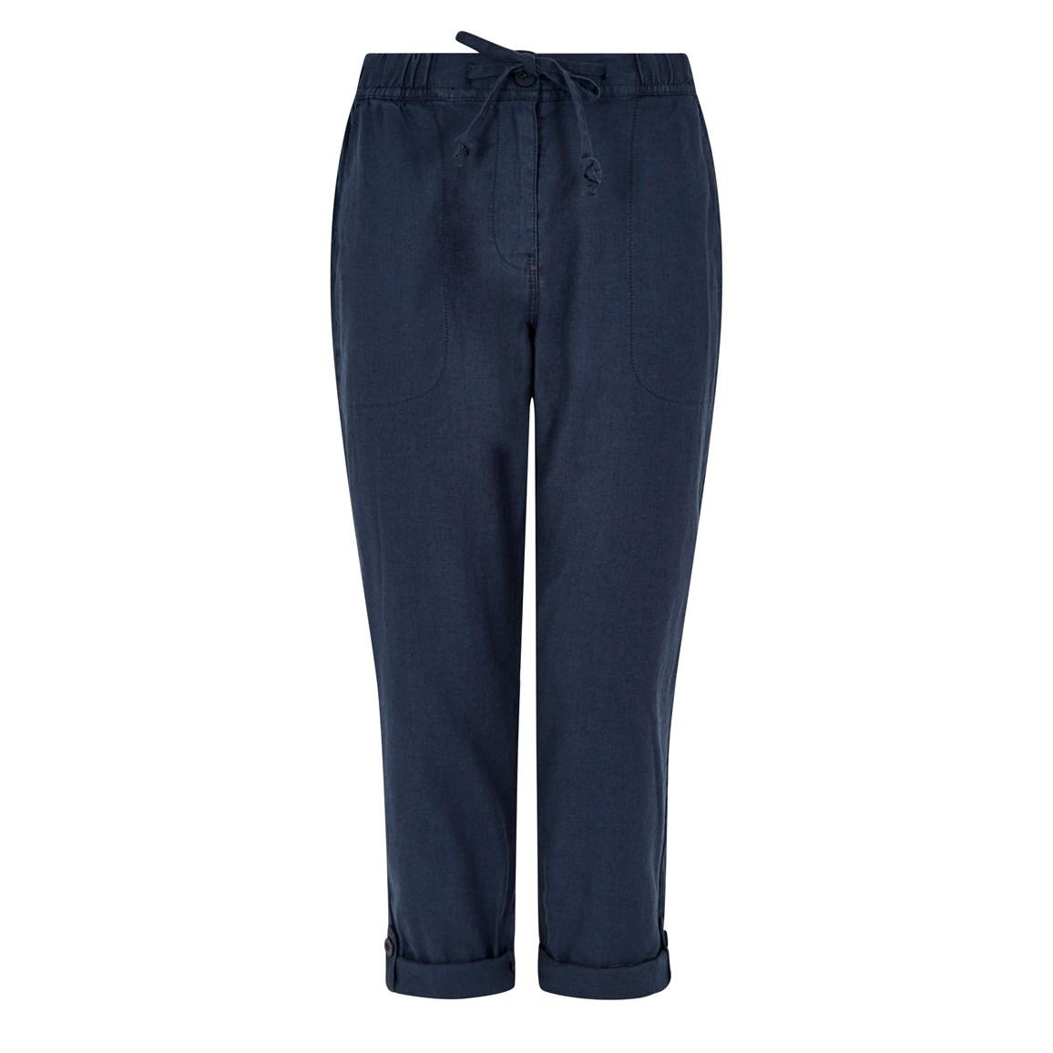 Women's Trousers Weird Fish Kenna Linen Crop Trousers Dark Navy Size 14