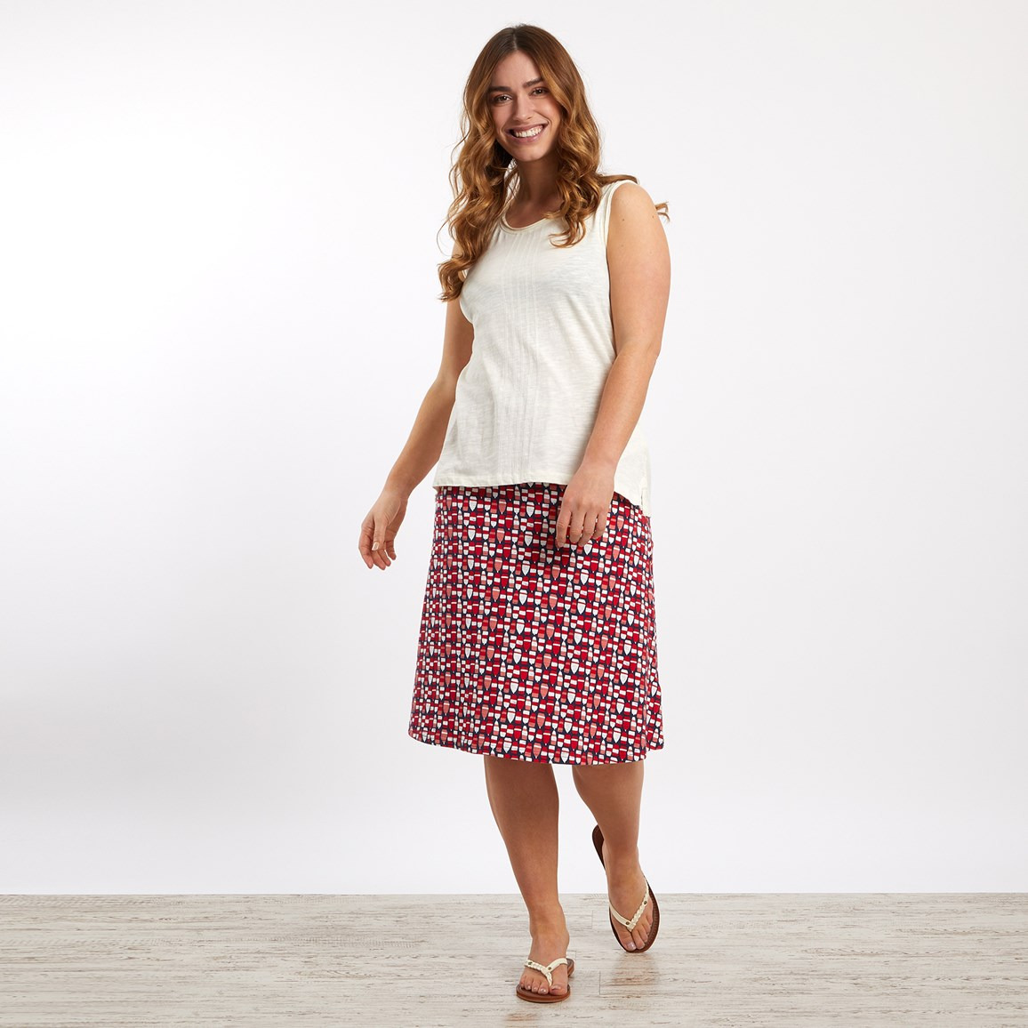 weird fish malmo patterned jersey skirt radical red size 14