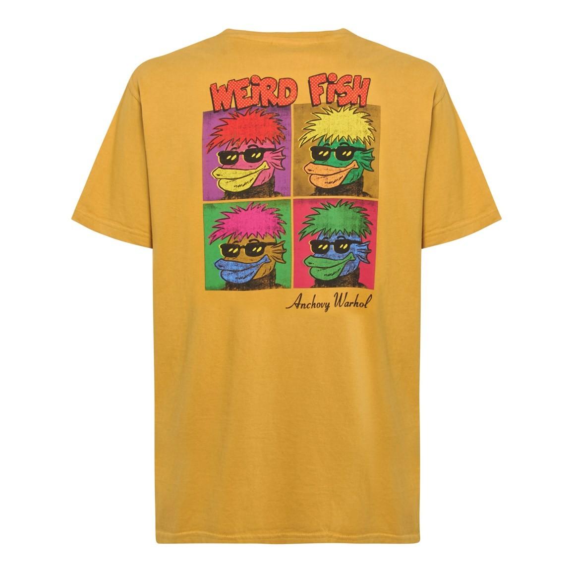Weird Fish Anchovy Warhol Back Print Artist T-Shirt Deep Amber Size 2XL