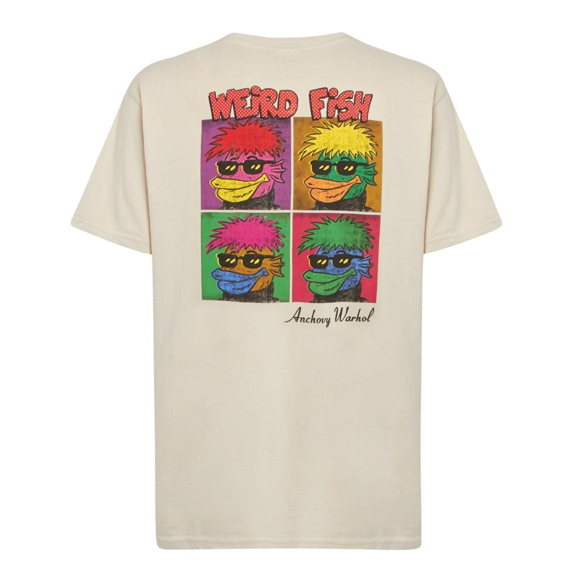 Weird Fish Anchovy Warhol Back Print Artist T-Shirt Oyster Size 2XL