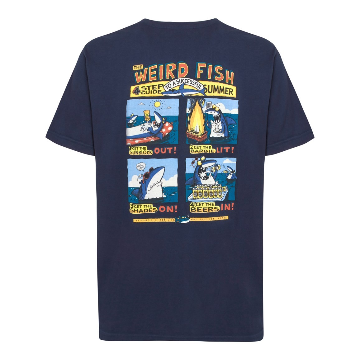 Image of Weird Fish Four Step Guide Back Print Artist T-Shirt Dark Navy Size 4XL