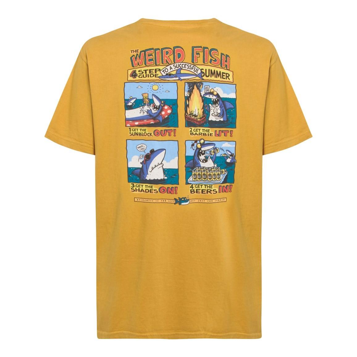 Weird Fish Four Step Guide Back Print Artist T-Shirt Deep Amber Size 2XL