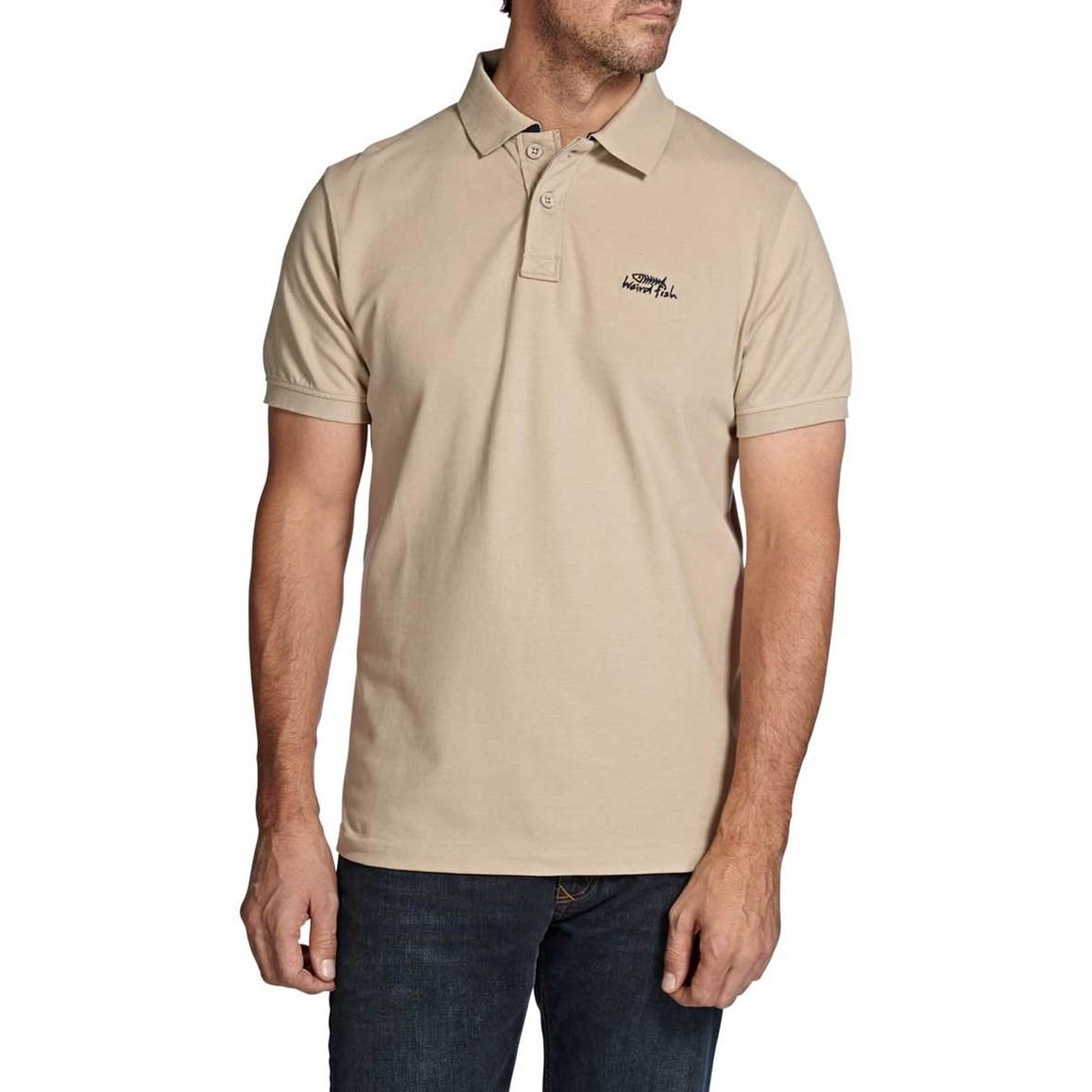 Image of Weird Fish Barros Classic Pique Polo Shirt Pebblestone Size 4XL
