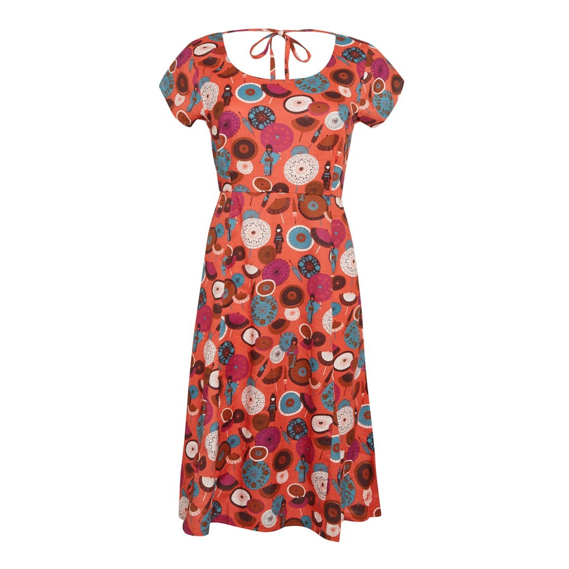 Weird Fish Fresnillo Printed Day Dress Burnt Orange