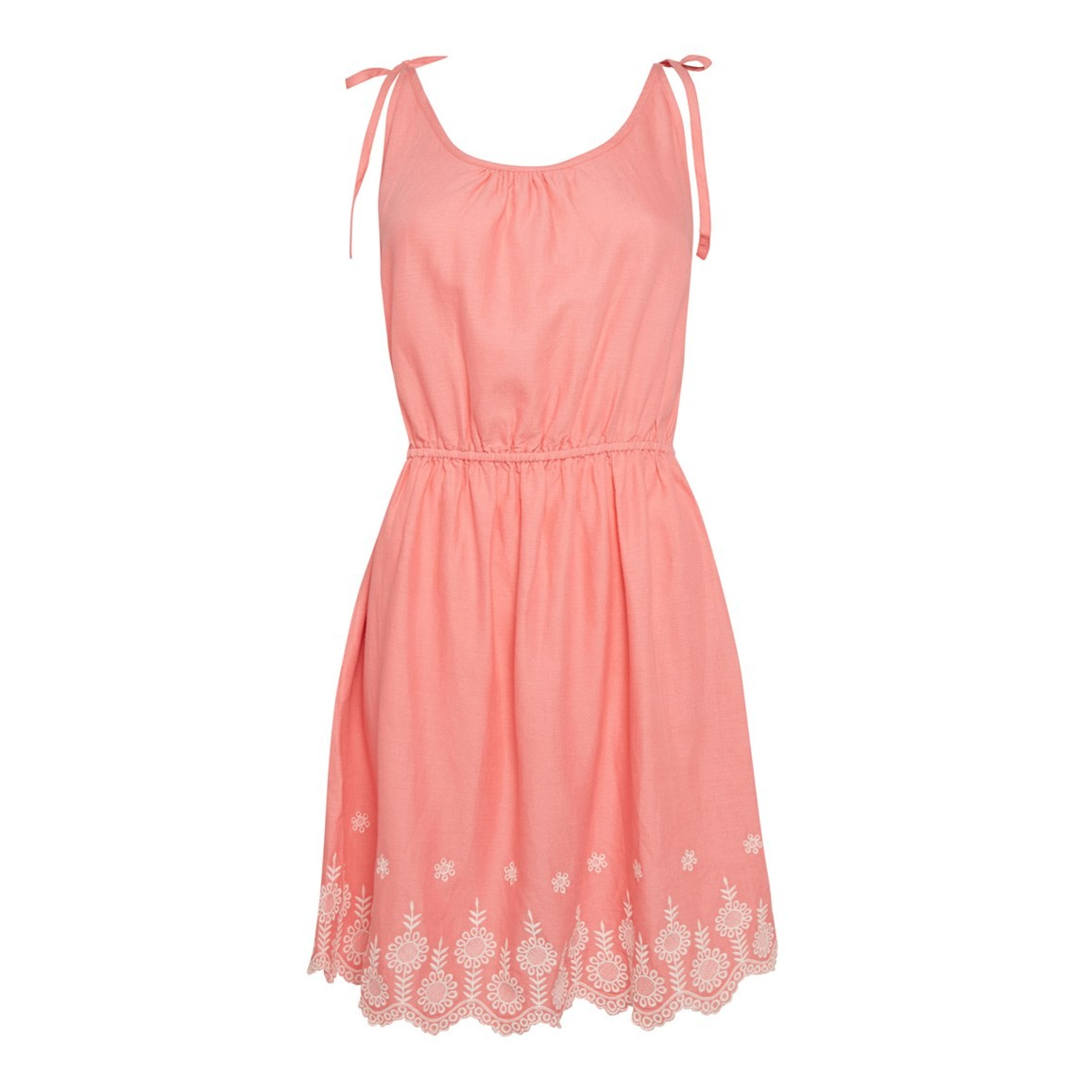 Weird Fish Cordoba Strappy Embroidered Dress Coral Pink