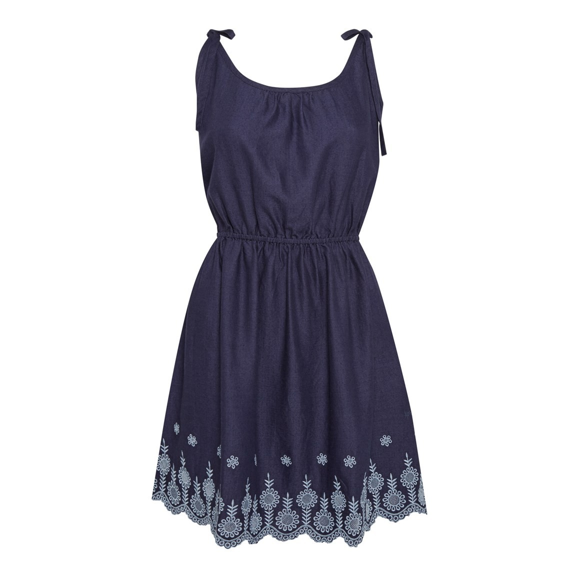 Weird Fish Cordoba Strappy Embroidered Dress Navy