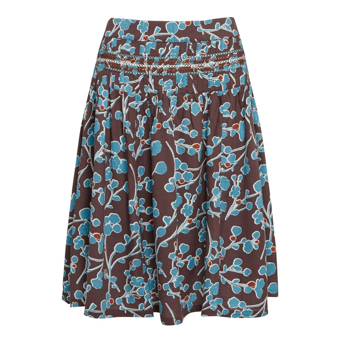 Weird Fish Potosi Printed Skirt with Pin Tuck Peppercorn