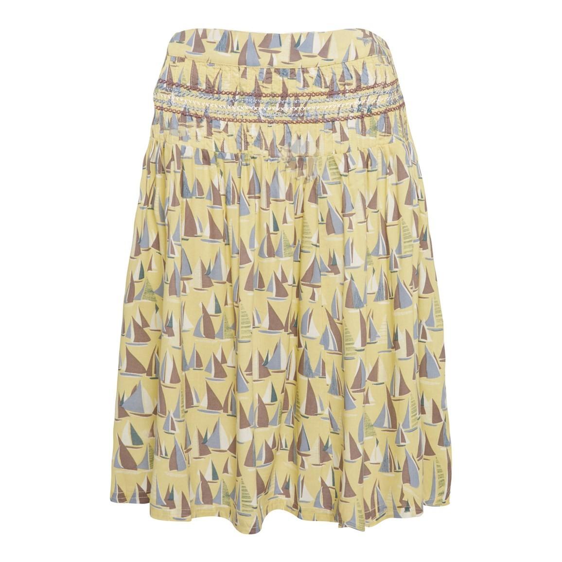 Weird Fish Potosi Printed Skirt with Pin Tuck Lemon