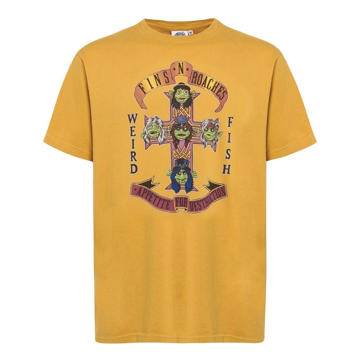 Weird Fish Fins N Roaches Front Print Artist T-Shirt Deep Amber Size 2XL