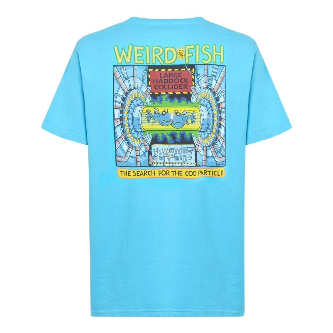 Weird Fish Haddock Collider Back Print Artist T-Shirt Cyan Size 2XL