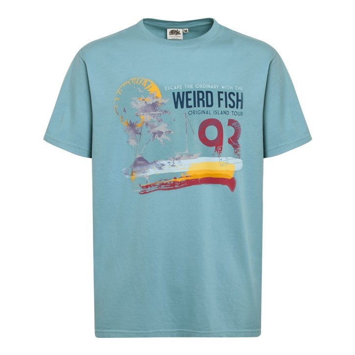 Image of Weird Fish Islander Boy's Printed T-Shirt Washed Teal Size 3-4