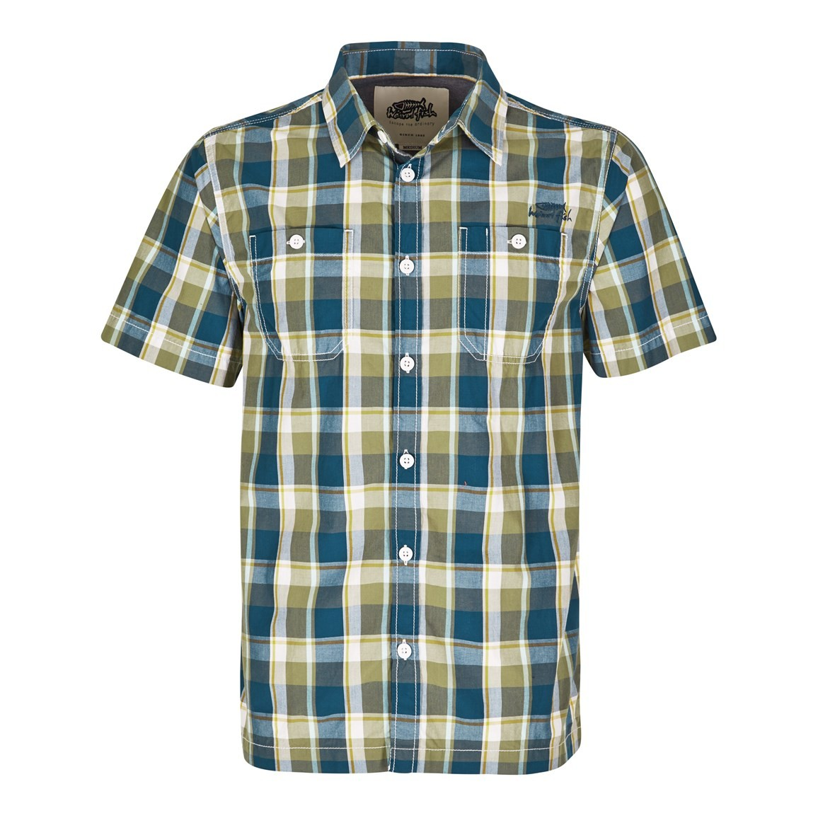 Weird Fish Farley Check Short Sleeve Shirt Khaki