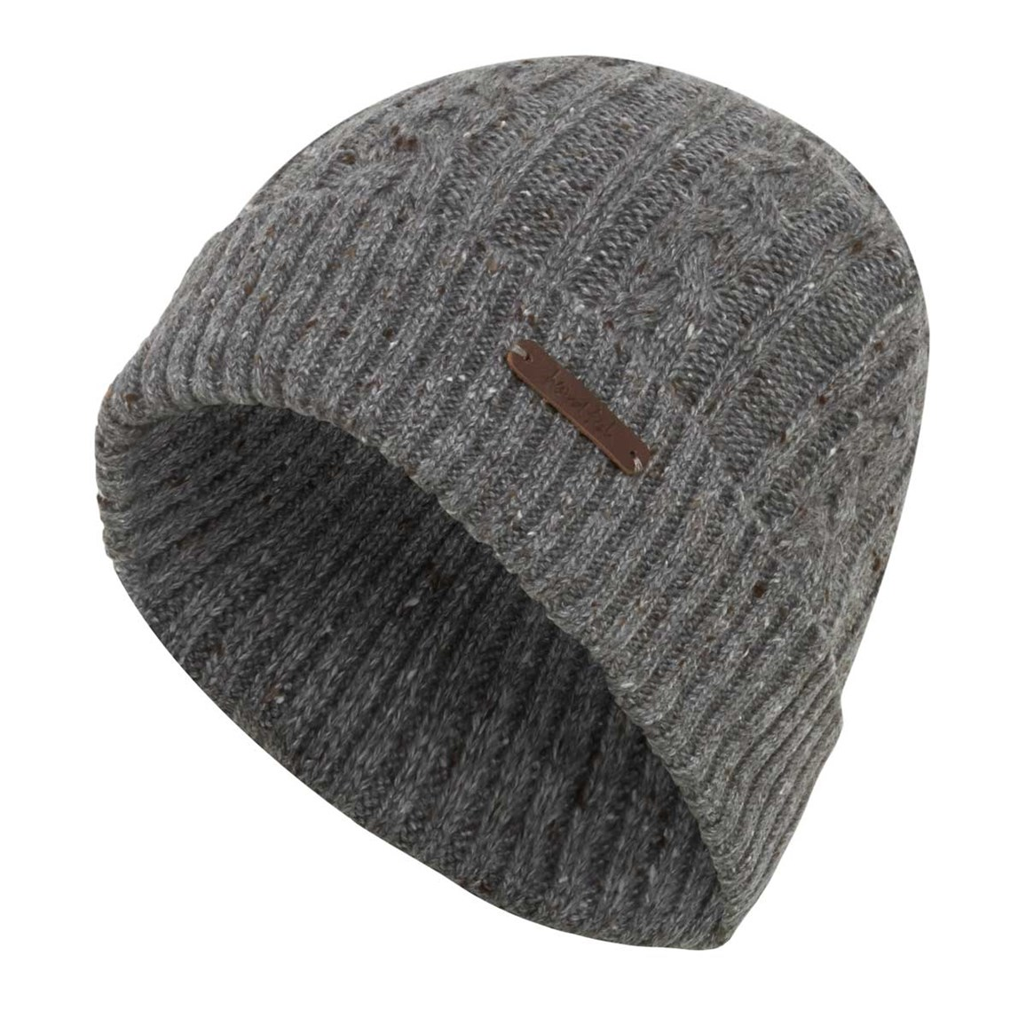 Weird Fish Swiftsure Cable Soft Knitted Beanie Hat Frost Grey