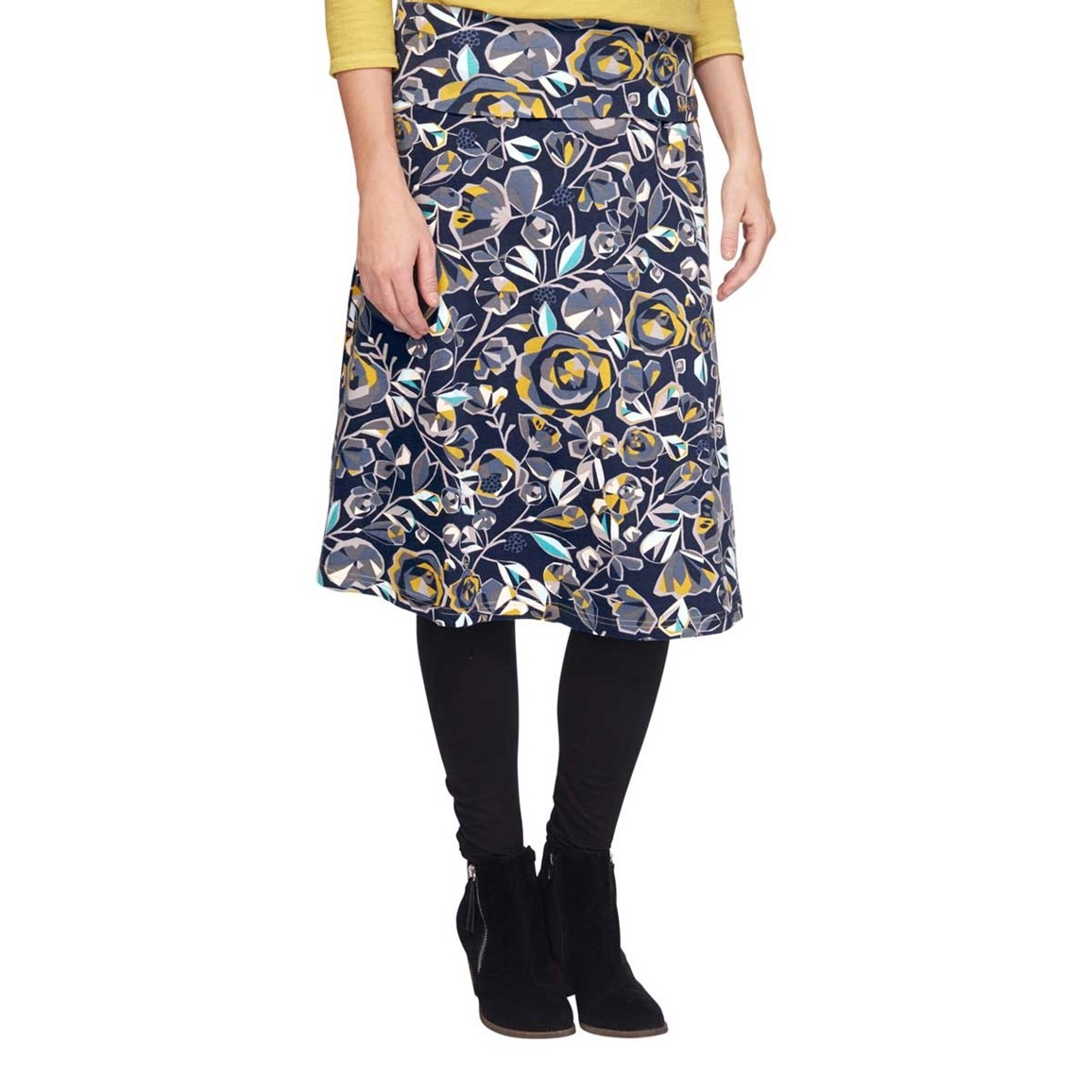 Weird Fish Malmo Printed A-Line Mid Length Jersey Skirt Dark Navy