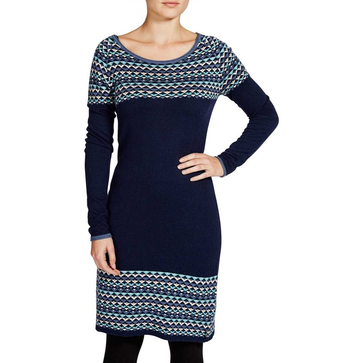 Weird Fish Nordic Patterned Knitted Dress Dark Navy
