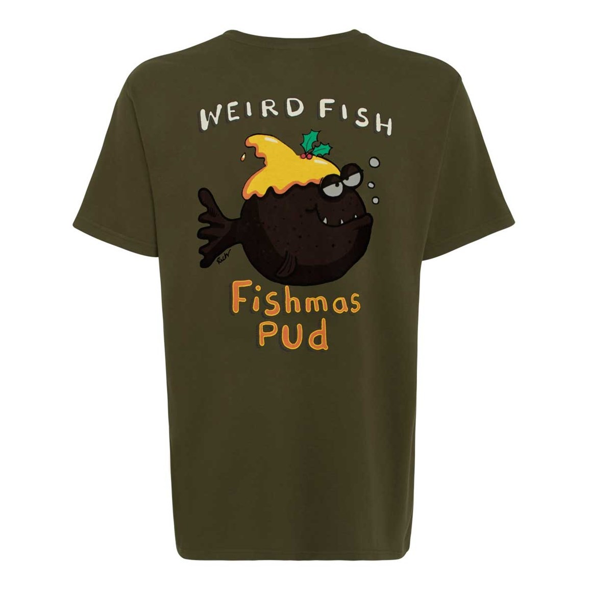 Weird Fish Fishmas Pud Printed Artist T-Shirt Olive Night