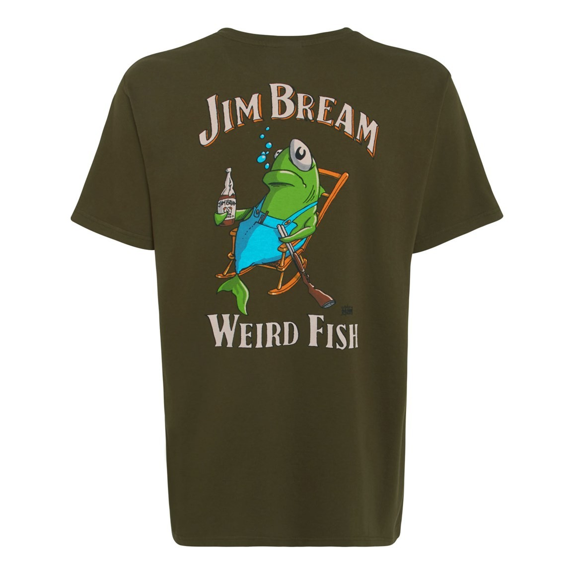 Weird Fish Jim Bream Printed Artist T-Shirt Olive Night