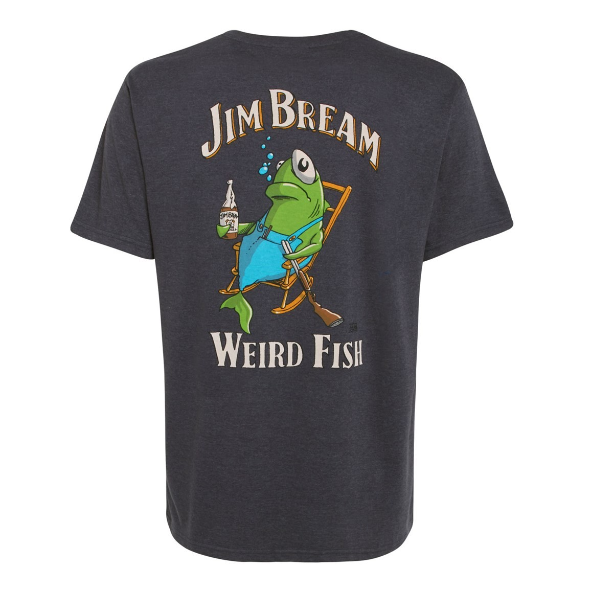Weird Fish Jim Bream Printed Artist T-Shirt Ebony Marl