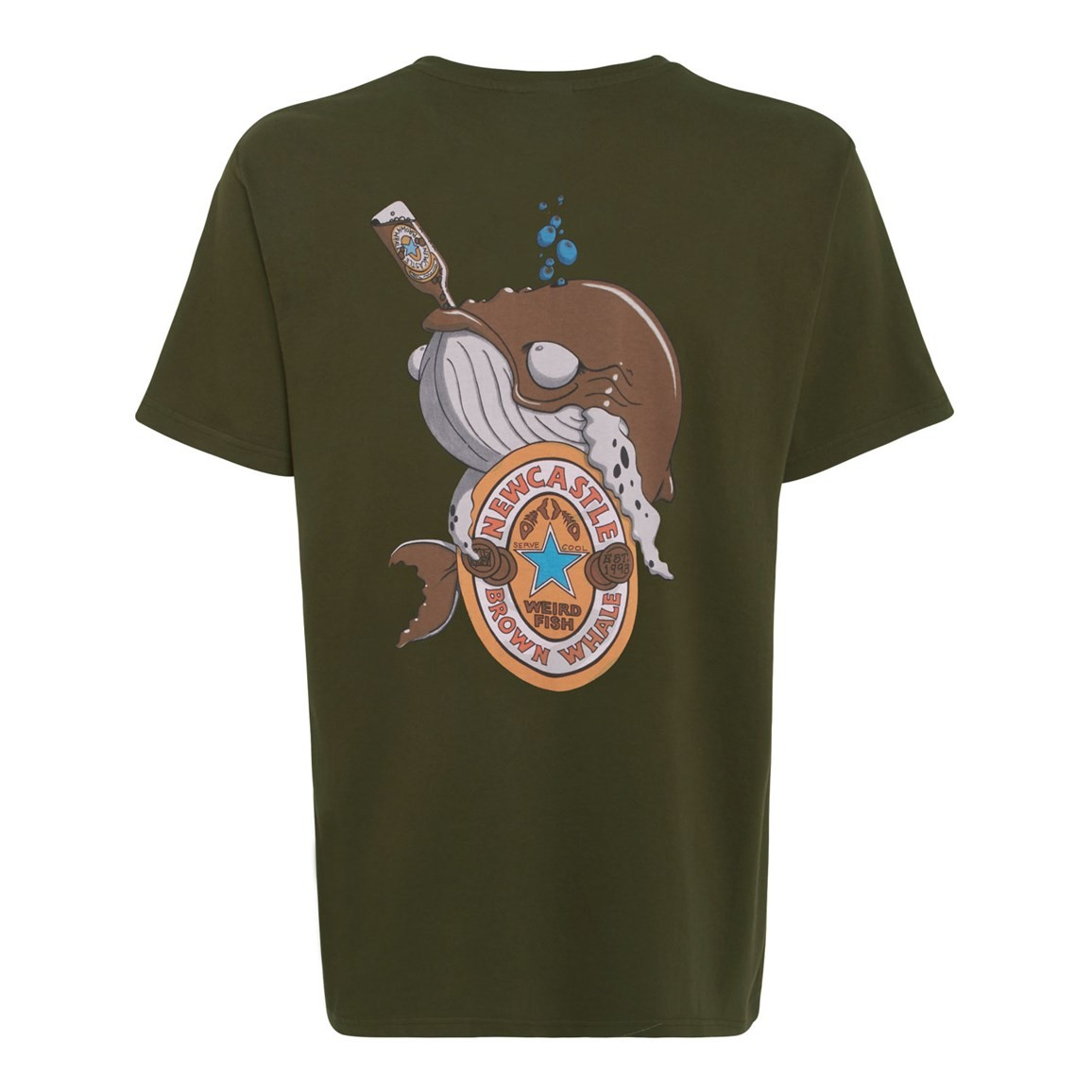 Weird Fish Brown Whale Printed Artist T-Shirt Olive Night