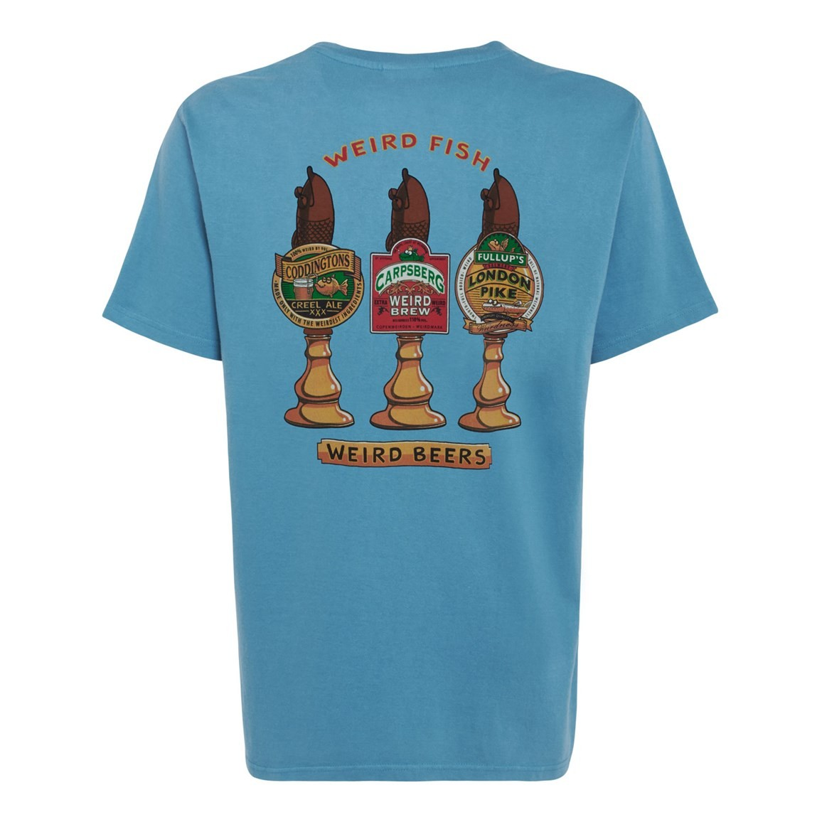 Weird Fish Weird Beers Printed Artist T-Shirt Adriatic Blue