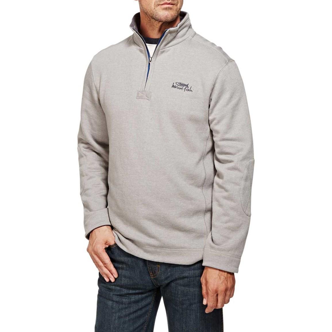 Image of Weird Fish Hail Plain 1/4 Zip Embroidered Sweatshirt Frost Grey Size 3XL