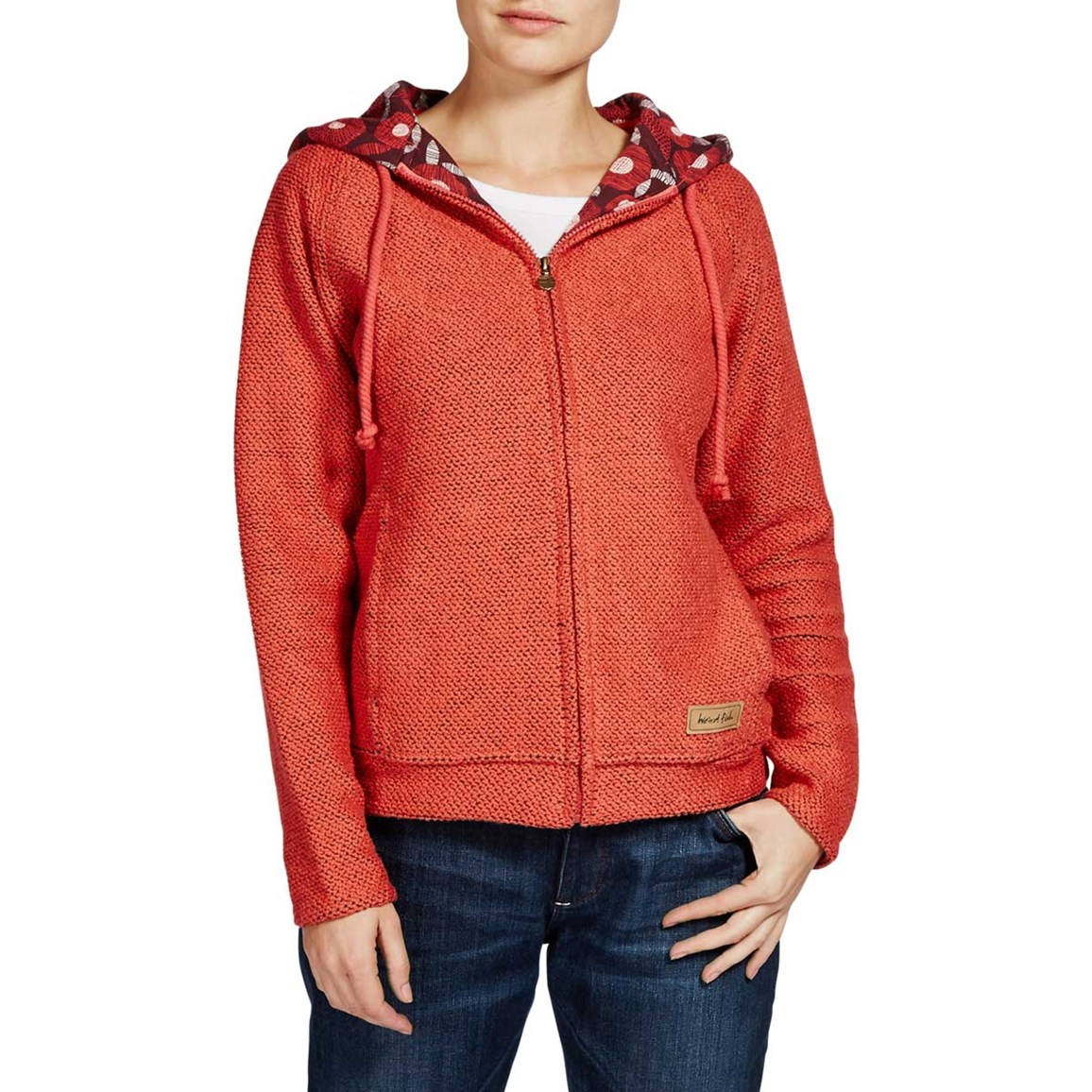 Image of Weird Fish Chicoa Full Zip Macaroni Hooded Sweatshirt Foxberry Size 10
