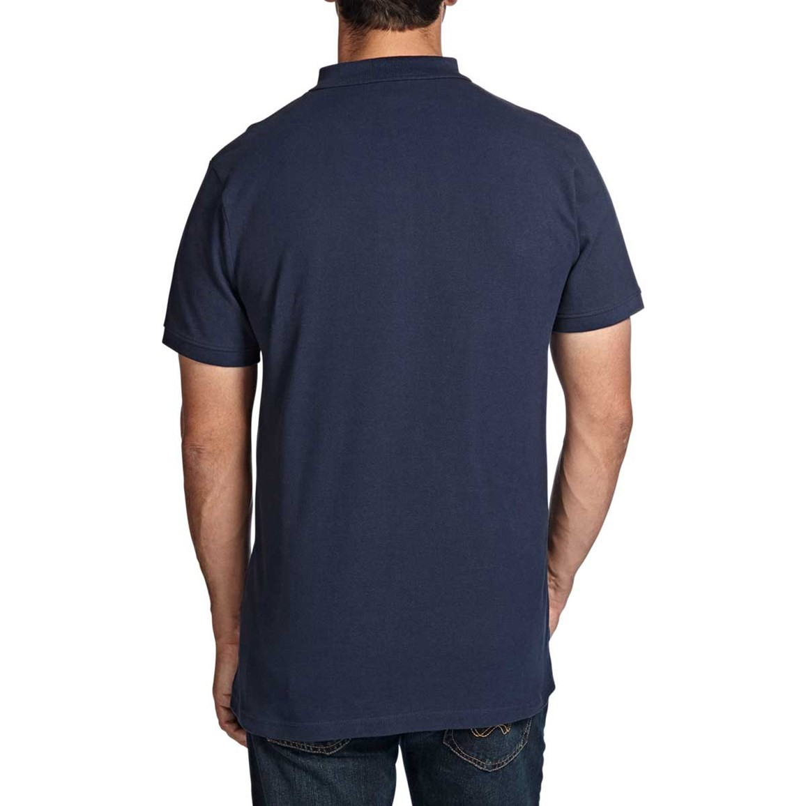 Saltash Plain Rib Collar Pique Polo Shirt Dark Navy