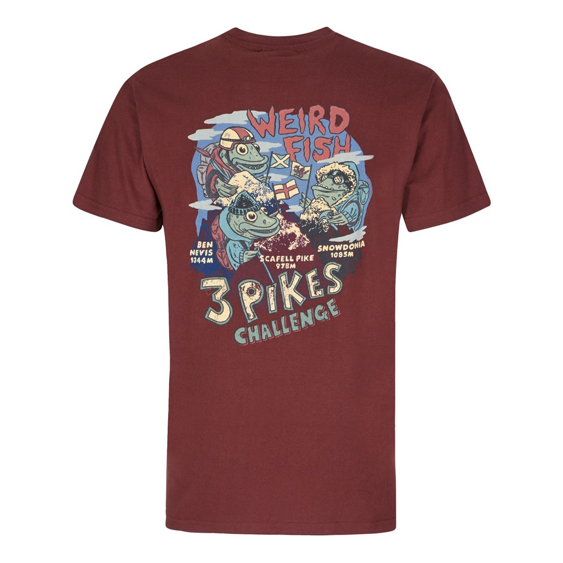 Image of Weird Fish Pikes Challenge Printed Artist T-Shirt Conker Size 2XL