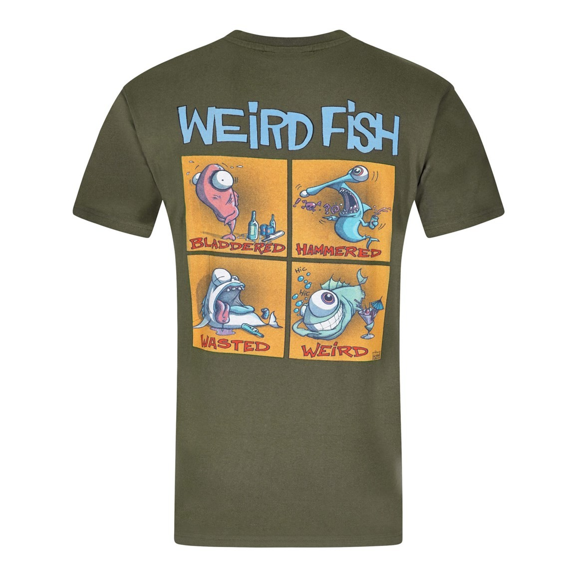 Image of Weird Fish Battered Printed Artist T-Shirt Olive Night Size M