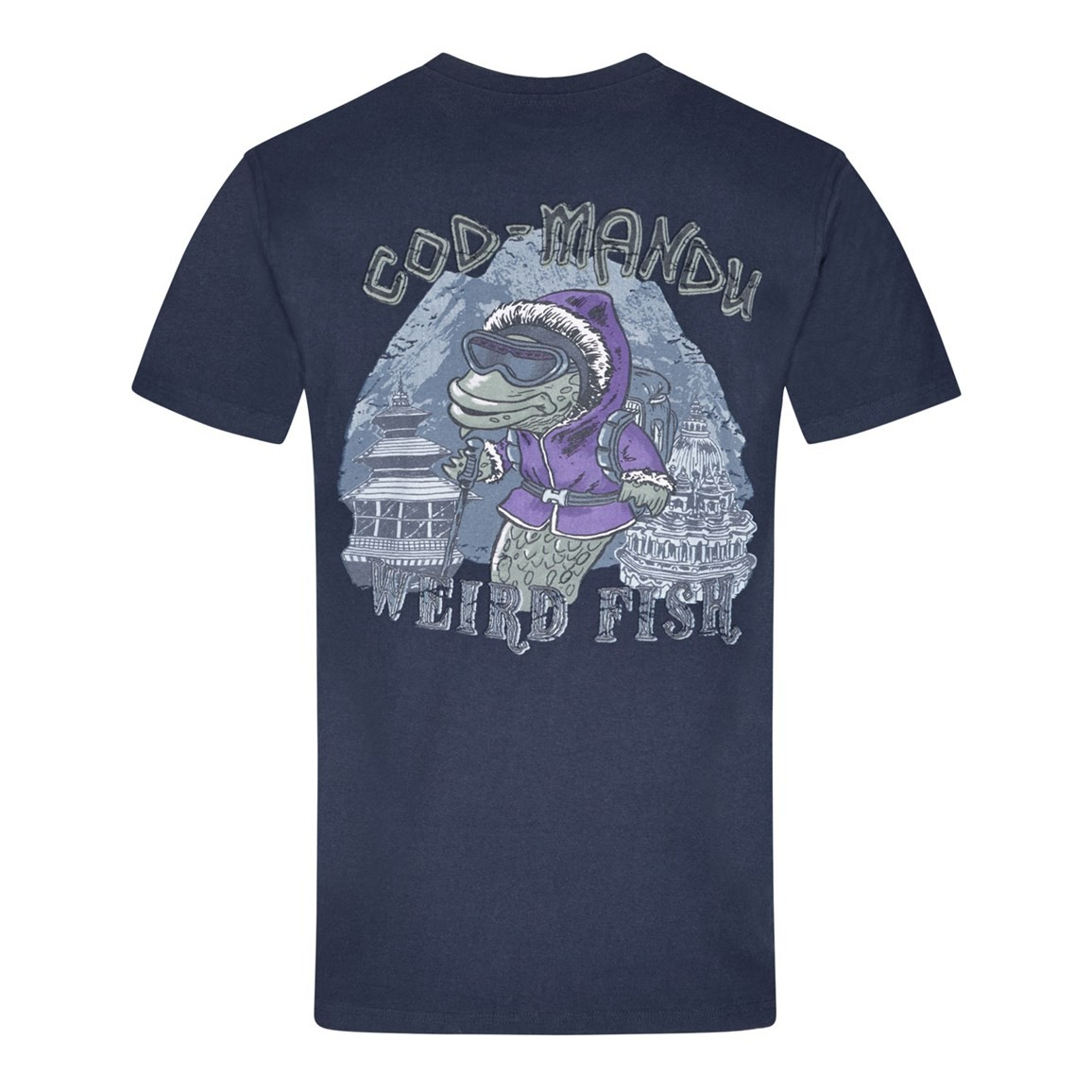 Weird Fish Cod Mandu Printed Artist T-Shirt Dark Navy