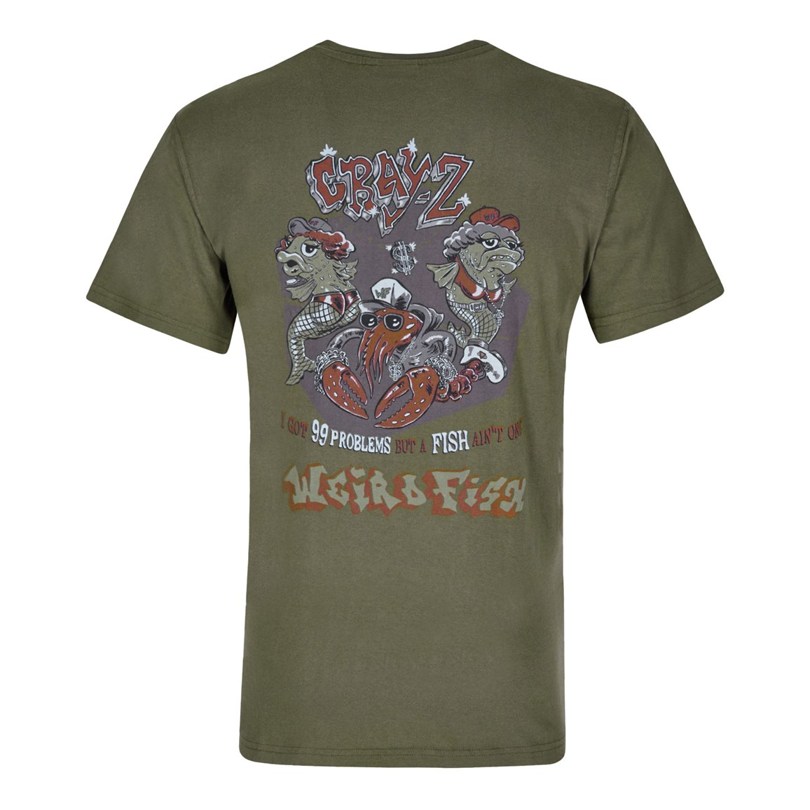 Weird Fish Cray Z Printed Artist T-Shirt Olive Night