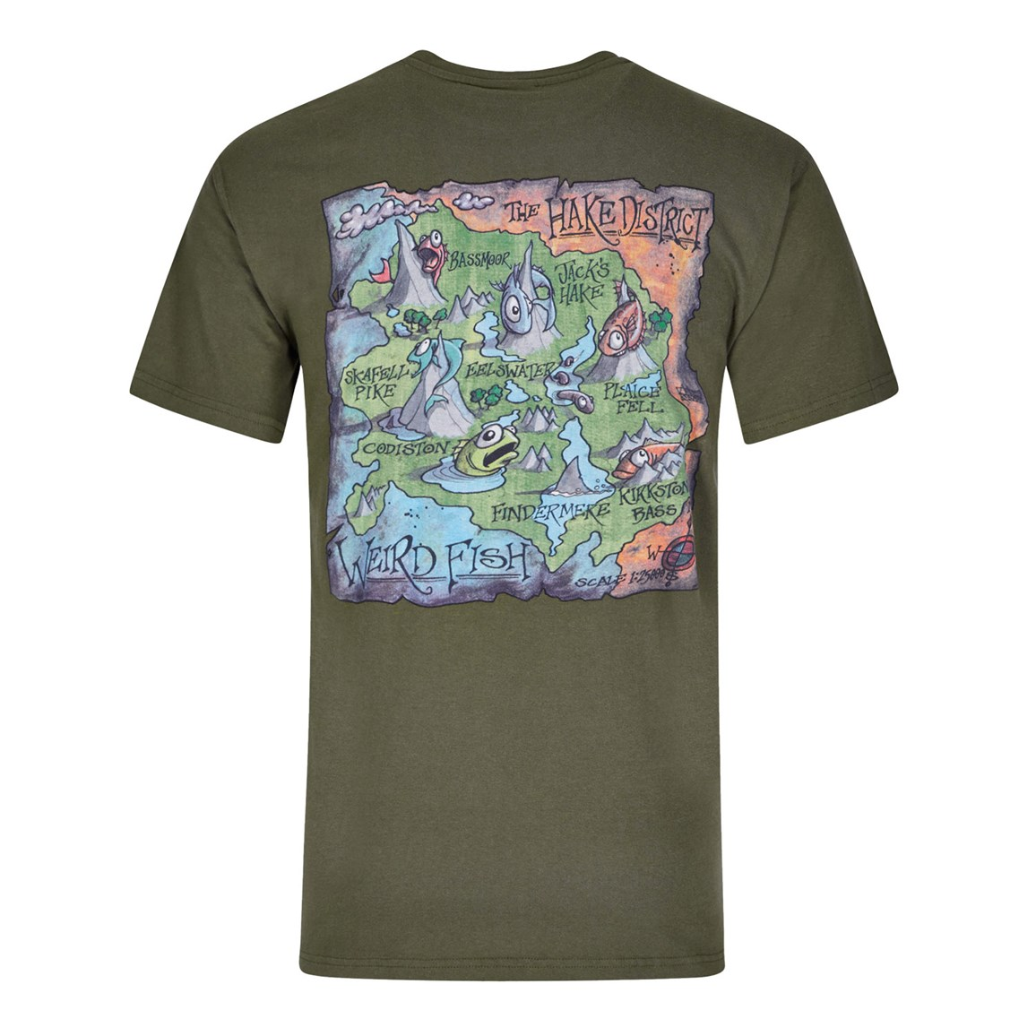 Image of Weird Fish Hake District Printed Artist T-Shirt Olive Night Size L