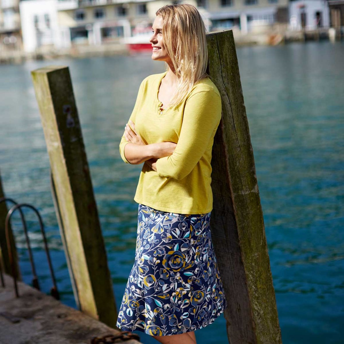 Weird Fish Malmo Printed A-Line Mid Length Jersey Skirt Foxberry