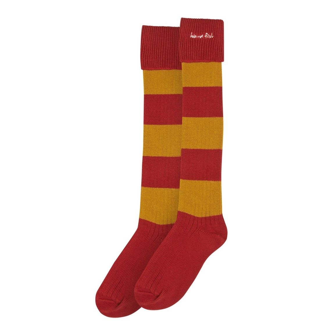 Weird Fish Liberec Long Striped Rugby Socks Chilli Red