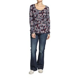 Thea Printed Long Sleeve Jersey Top Ink