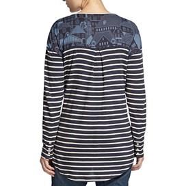 Inger Panelled  Print & Stripe Loose Fit Top Navy