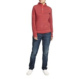 Sami Plain 1/4 Zip Fleece Soft Knit Sweatshirt Foxberry