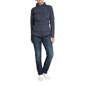 Hopa Plain Zipped Soft Knit Fleece Top Dark Navy
