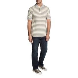 Alderton Textured Stripe Classic Polo Shirt Antique Tan