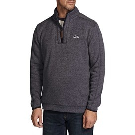 Talas Plain 1/4 Zip Soft Knit Fleece Sweatshirt Ebony