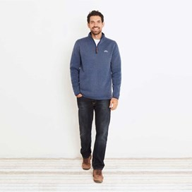 Talas Plain 1/4 Zip Soft Knit Fleece Sweatshirt China Blue