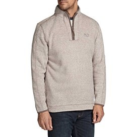 Talas Plain 1/4 Zip Soft Knit Fleece Sweatshirt Natural