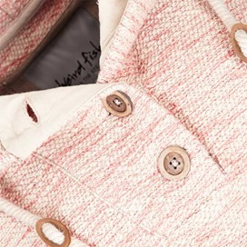 Naunton Jarse Button Neck Hooded Fleece Pebble