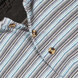 Alderton Textured Stripe Classic Polo Shirt Electric Blue
