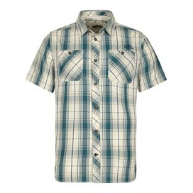 Kale Cotton Short Sleeve Checked Shirt Sea Green