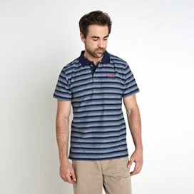 Isonoe Textured Stripe Polo Shirt Dark Navy