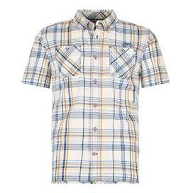 Marax Cotton Short Sleeve Checked Shirt Royal Blue