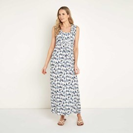 Cloud Printed Maxi Dress Light Cream