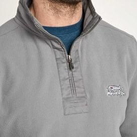 Sponde 1/4 Zip Neck Grid Fleece Top Frost Grey